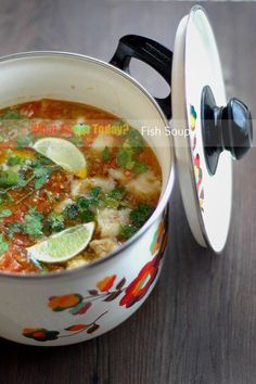 Fish soup. Our family is crazy about this soup. My daughter especially! She loves Sole and Swai fillet and either one is perfect to make this soup. Can't be easier to make but so delicious. It's red in color because of the tomatoes. It is lightly sour from the limes, a little hint of spiciness from the chili (or you can make it as spicy as you want). Absolutely love this dish!