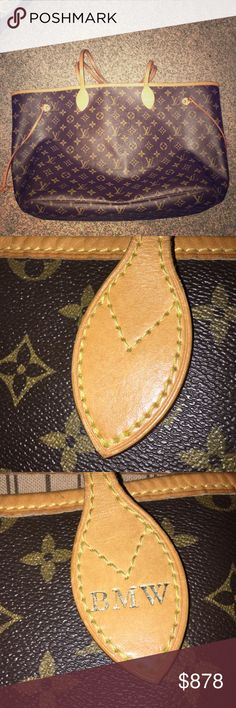 Louis Vuitton Neverfull NM GM MNG with Beige Int. This Neverfull was purchased in March of 2016. It is hot stamped in gold with initials BMW. This piece is in excellent condition and would be a great asset to anybody's wardrobe!! Purchase before the holidays and go to family gatherings in style. Any questions just ask! The wallet/wristlet attachment has been previously sold so that does not come with handbag. Receipt of purchase, dust bag and box for verification. Louis Vuitton Bags Satchels