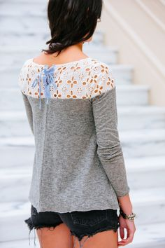gilt   gossamer - 3/4 Sleeve Top with Lace Detail, (http://www.giltandgossamer.com/3-4-sleeve-top-with-lace-detail/)