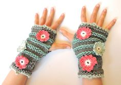 Eco Floral Fingerless Gloves Organic Cotton by ValerieBaberDesigns