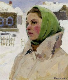 Portrait of a Woman 1959 Painting by Serafim L Frolov | Oil Painting