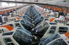 Seventy TH-67 helicopters fit nose-to-nose in a hangar at Cairns Army Airfield,