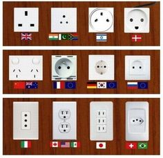 Wall sockets from all over the world.