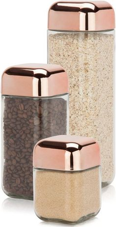 Glass & Copper Canister Set is part of painting Glass Canisters - Sleek and contemporary This copper and glass canister set from Honey Can Do, is perfect for bringing stylish organization to any kitchen! Airtight seal helps keep food fresher, longer Glass Storage Jars, Jar Storage, Glass Containers, Food Storage, Storage Containers, Image Storage, Kitchen Storage, Copper Canisters, Glass Canisters
