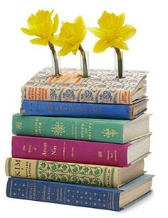 DIY How To Make A Book Vase. As much as I dislike ruining a book, it would be easy to find old used books at thrift shops! Book Crafts, Diy And Crafts, Arts And Crafts, Paper Crafts, Book Projects, Craft Projects, Craft Ideas, Fun Ideas, Recycling
