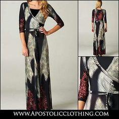 Modest dresses - Women's smudge and Paisley print maxi dress - Apostolic Clothing