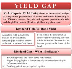 Yield gap (also yield ratio) is the difference between the yield on long-term government bonds and the yield on shares (dividend yield) at any given time. Economics 101, Indian Philosophy, Third Grade Science, Accounting And Finance, Wealth Creation, Writing Challenge, Financial Statement, Managing Your Money, Budgeting Finances