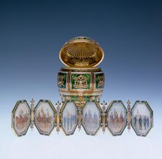 Napoleonic Egg presented to the Empress Dowager by her son Nicholas. Inside the egg was a folding screen of 6 minatures each representing a regiment of which the Dowager was honorary colonel