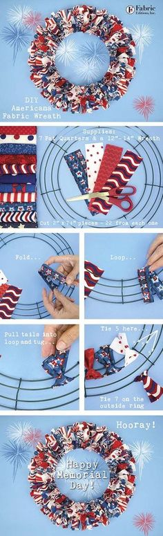 Summer 2016 is quickly arriving, so time to start those red, white and blue projects! Fabric Editions designed a great selection of Americana singles this year. Fresh prints, polka dots, and really g (How To Make Good Tutorials) Patriotic Wreath, Patriotic Crafts, July Crafts, Summer Crafts, Diy Summer Projects, Wreath Crafts, Diy Wreath, Wreath Ideas, Wreath Making