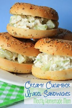 Mostly Homemade Mom: Creamy Cucumber Bagel Sandwiches