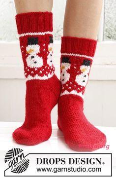 Носки со снеговиком. Вязание носков спицами