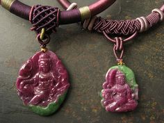 Ruby and Zualite Quan Yin in Royal Ease Necklaces