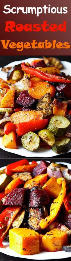Scrumptious Roasted Vegetables – The best oven roasted vegetables ever! Made qui… Scrumptious Roasted Vegetables – The best oven roasted vegetables ever! Made quickly and effortlessly. Every vegetable is cooked to perfection. Side Dish Recipes, Veggie Recipes, Whole Food Recipes, Vegetarian Recipes, Cooking Recipes, Healthy Recipes, Roasted Vegetable Recipes, Oven Roasted Vegetables, Cooking Videos