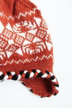 Knitted Nordic hat brown knits women winter head by JolantaKnit