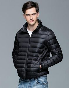 593f14ccf541f New Autumn Winter Man Duck Down Jacket Ultra Light Thin Plus Size Spring Jackets  Men Stand Collar Outerwear Coat