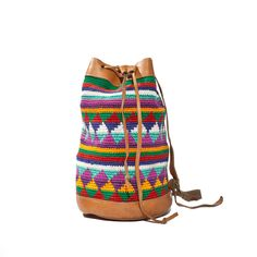 Colorful Drawstring Cotton Bucket Bag with Leather Trim Southwestern Aztec Fashion. $38.00, via Etsy.