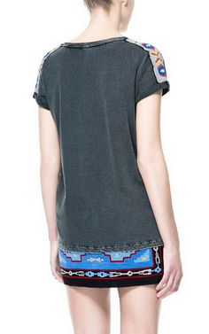 T-SHIRT WITH ETHNIC BEADED SHOULDERS