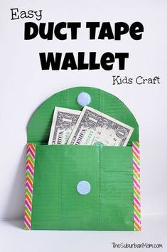 How To Make A Duct Tape Wallet -- a great Girl Scout Troop Idea to carry dues in. This easy duct tape craft is a great way to teach kids about money.