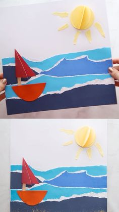 Kids Crafts SUMMER SAILBOAT ⛵️ CRAFT- such a fun and easy summer craft for kids! you can find similar pins below. Boat Crafts, Summer Crafts For Kids, Paper Crafts For Kids, Craft Stick Crafts, Spring Crafts, Preschool Crafts, Easy Crafts, Art For Kids, Arts And Crafts