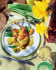 Kaninchenkeule an Kräuter-Senfsauce