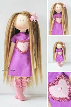 Textile doll Rag doll Interior doll Handmade doll Soft doll Art doll Cloth doll Pink doll Tilda doll Fabric doll
