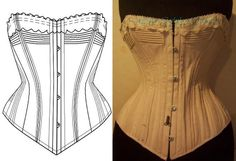 Ref C paper pattern hand drafted from antique corded corset 24.40 inches at waist line