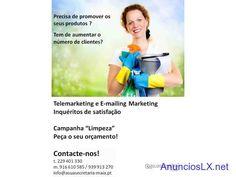 """Campanha """"Limpeza""""  Telemarketing e E-mailing Marketing  Inquéritos de satisfação"""