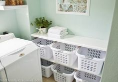 Under Kim's folding table, she placed a basket for each member of her family. She sorts the laundry into each person's bin and they're required to fold and put it away. Three cheers for delegating (err, teamwork?). Read more at Sand and Sisal »