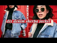 Watch How She Adds Sherpa To Her Denim Jacket Making It Warm And Cozy! Denim Jacket Diy, Sherpa Denim Jacket, Denim Outfit, Sew Your Own Clothes, Diy Clothes, Sewing Clothes, Make Skinny Jeans, Diy Jeans, Lined Jeans