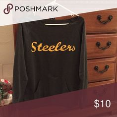Steelers lightweight shirt. Charcoal grey lightweight sweatshirt with Steelers name Tops Sweatshirts & Hoodies