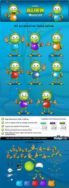 A changeable character design of a Alien mascot, He has changeable arms, shirt, mouth, hands, eyes & t-shirt designs, which will a