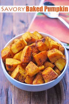 An easy recipe for savory baked pumpkin, seasoned with olive oil, garlic and chili powder. This baked pumpkin recipe is healthy and paleo. Fresh Pumpkin Recipes, Veggie Recipes, Fall Recipes, Healthy Dinner Recipes, Baking Recipes, Pumpkin Recipes Toddler, Pumpkin Dinner Recipes, Detox Recipes, Rice Recipes