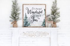 It's The Most Wonderful Time Of The Year / Christmas Printable Wall Art / Christmas Decor / Modern / Print & Ship Wall Art 4x4 5x5 8x8 12x12 by LidtkaPrintCompany on Etsy Christmas Wall Art, Paper Frames, Time Of The Year, Bedroom Themes, Christmas Printables, Modern Prints, Wonderful Time, Printable Wall Art, Modern Decor