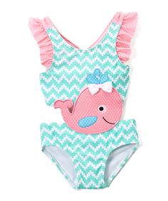 Blue Summer Whale Connector One-Piece Swimsuit - Infant & Toddler