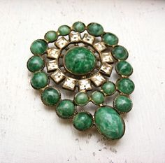 Vintage Rhinestone and Glass Brooch