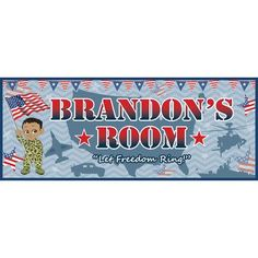 Mona Melisa Designs Patriotic Boy Name Wall Decal Skin Shade: Medium, Camo Color: Blue, Eye Color: Green, Hair Color: Blonde