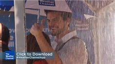 weather channel promotes its updated mobile app, which gives hourly updates of local weather, by making bus stop shelters deliver spontaneous rain showers at times designated on digital panels in the shelter.