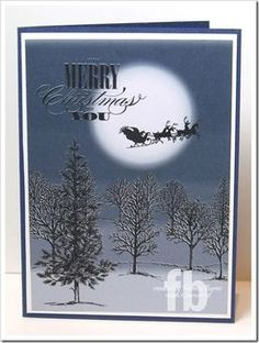 handmade Christmas card ... My Design Studio .... Lovely as a Tree images ... Santa's sleigh moving across the moon ... Stampin' Up!