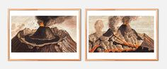 Vintage Volcano Print Set of Two art home decor art print floral wall decor wall art on Cotton Canvas or Paper Canvas #homedecor #wallart #illustration #volcano #volcanoprint #vintage #etsy #print #prints #retro #home #poster #walldecor #wallprint #volcanoillustration