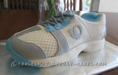 Coolest Running Shoe Cake... This website is the Pinterest of birthday cake ideas