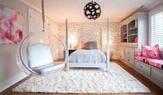 Lucy and Company - girl's rooms - Eero Aarnio Porch Swing, Zimba Silver Wallpaper, pink and gray bedroom, pink and gray girls room, pink and...