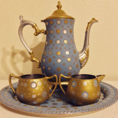 Custom hand painted vintage tea set!!! By FUNK Living of course!!!