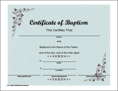 a baptismal certificate with a script font and subtle flower accent for christian or catholic baptism of a baby or adult free to download and print