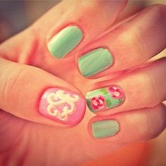 Lilly Pulitzer and Monogram nails. Where have these been all my life