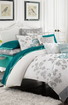Teal and Turquoise... KAS Designs Floral Embroidered Duvet Cover