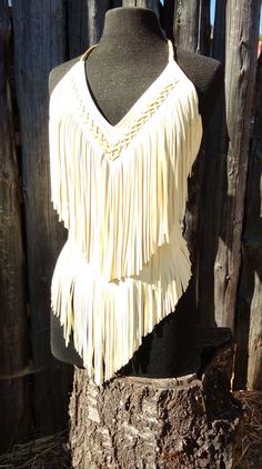 Fringed Leather Natural Buckskin Halter Top, sexy, boho, one of a kind, western wear, motorcycle, rocker, hippie, native inspired by ellasleather on Etsy