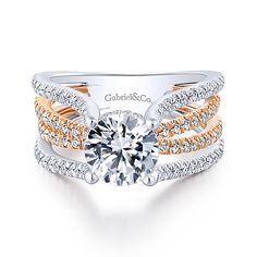 Reese White And Rose Gold Round Twisted Engagement Ring angle 1 Split Shank Engagement Rings, Best Engagement Rings, Round Diamond Engagement Rings, Three Stone Engagement Rings, Diamond Wedding Bands, Wedding Rings, Solitaire Rings, Wedding Stuff, Gucci