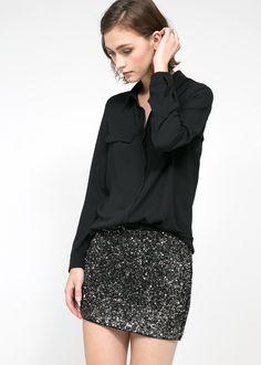 Minifalda lentejuelas - Faldas de Mujer | MANGO