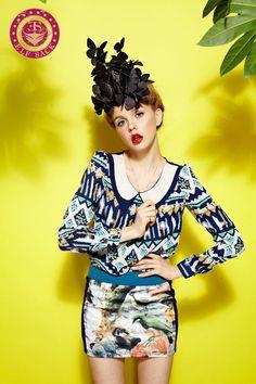 Womens Loose Pop Art Double Collar Chiffon Shirts