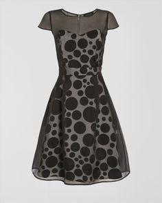 Spot Silk Organza Dress
